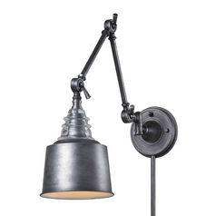 LED Swing Arm Lamp in Weathered Zinc Finish