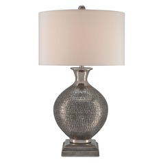 Currey and Company Evolution Antique Nickel Table Lamp with Drum Shade