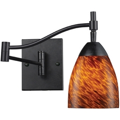 Swing Arm Lamp with Art Glass in Dark Rust Finish