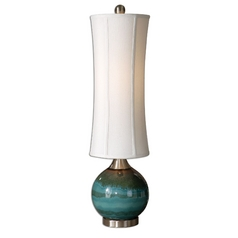Modern Table Lamp with White Shade in Blue Finish