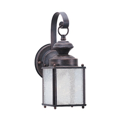 Outdoor Wall Light with Clear Glass in Textured Rust Patina Finish