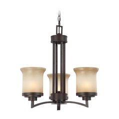 Modern Mini-Chandelier with Beige / Cream Glass in Dark Chocolate Bronze Finish