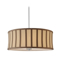 Drum Pendant Light with Cream Shade and Brown Stripes