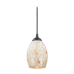 Mosaic Mini-Pendant Light with Oblong Glass Shade in Black Finish