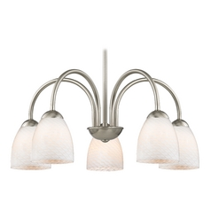 Chandelier with White Art Glass in Satin Nickel Finish