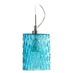 Quorum Lighting Satin Nickel W/ Aqua Mini-Pendant Light with Cylindrical Shade