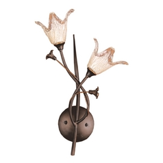 Sconce Wall Light with Beige / Cream Glass in Aged Bronze Finish