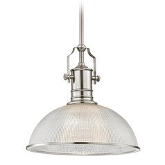 Industrial Pendant Light Prismatic Glass Satin Nickel 13.13-Inch Wide