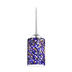 Design Classics Lighting Modern Mini-Pendant Light with Blue Glass 581-26 GL1009C