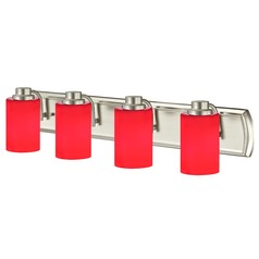 Red Glass Bathroom Light in Satin Nickel with Four Lights