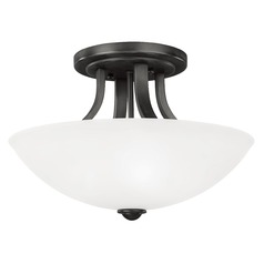 Bronze Ceiling Light with White Dome Glass Shade and Three Lights