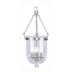 Livex Lighting Jefferson Brushed Nickel Pendant Light with Bowl / Dome Shade
