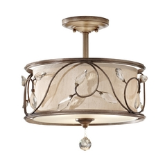 Semi-Flushmount Light with Amber Shade in Arctic Silver Finish