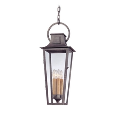 Outdoor Hanging Light with Clear Glass in Aged Pewter Finish
