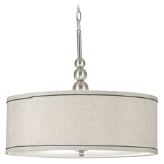 Modern Drum Pendant Light in Brushed Steel Finish