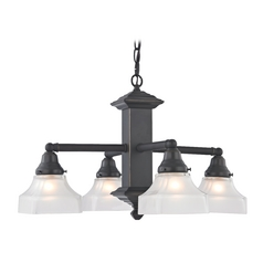 Design Classics Lighting Arts & Crafts Bronze Chandelier with Four Lights 375-78 / G9415