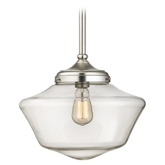 14-Inch Clear Glass Schoolhouse Pendant Light in Satin Nickel Finish