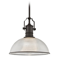 Farmhouse Prismatic Glass  Pendant Light Bronze 13.13-Inch Wide