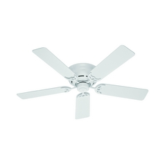 52-Inch Hunter Fan Low Profile III White Ceiling Fan Without Light
