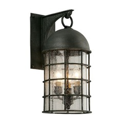 Frosted Seeded Glass Outdoor Wall Light Pewter Troy Lighting