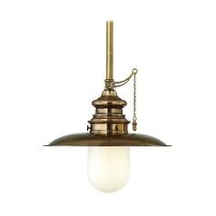 Nautical Pendant Light with White Glass in Aged Brass Finish