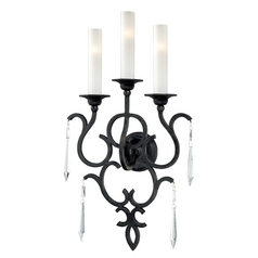 Sconce Wall Light with White Glass in Castellina Aged Iron Finish