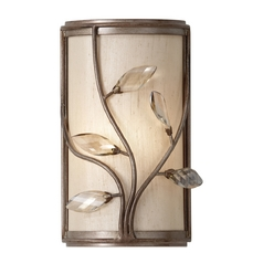 Sconce Wall Light with Amber Shade in Arctic Silver Finish