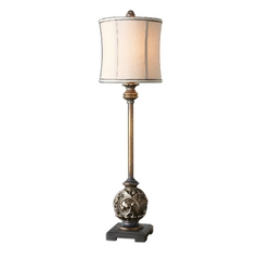 Table Lamp with Beige / Cream Shade in Aged Golden Bronze Finish