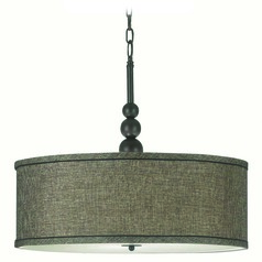Modern Pendant Light with Drum Shade in Oil Rubbed Bronze