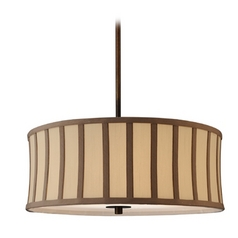 Bronze Drum Pendant Light with Cream Shade and Brown Stripes