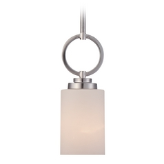 Quoizel Lighting Quoizel Lighting Celestial Brushed Nickel Mini-Pendant Light with Cylindrical Shade CLT1504BN