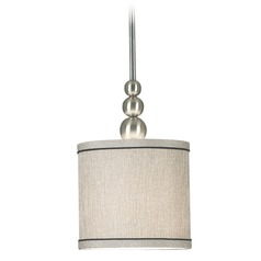 Modern Drum Mini Pendant Light in Brushed Steel Finish