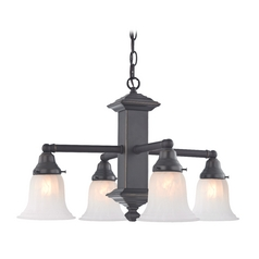 Design Classics Lighting Bronze Craftsman Chandelier with Alabaster Glass Shades 375-78 / G9430