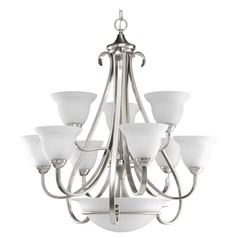 Progress Chandelier with White Glass in Brushed Nickel Finish