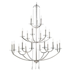 Progress Lighting Modern 3-Tier 21-Light Chandelier in Polished Nickel