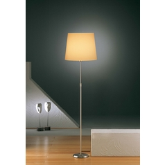 Holtkoetter Modern Floor Lamp with Beige / Cream Shade in Satin Nickel Finish