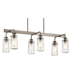 Seeded Glass Linear Chandelier Pewter Kichler Lighting