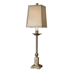 Console & Buffet Lamp with Beige / Cream Shade in Aged Bronze Finish