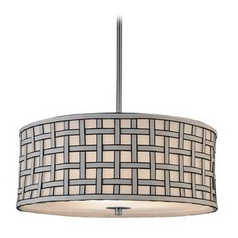 Contemporary Drum Shade Pendant Light with Criss-Cross Patterned Shade