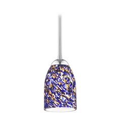 Design Classics Lighting Modern Mini-Pendant Light with Blue Glass 581-26 GL1009D