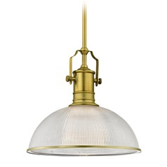 Industrial Brass Pendant Light Prismatic Glass 13.13-Inch Wide