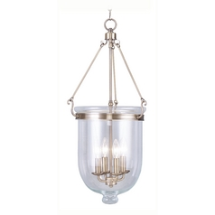 Livex Lighting Jefferson Antique Brass Pendant Light with Bowl / Dome Shade