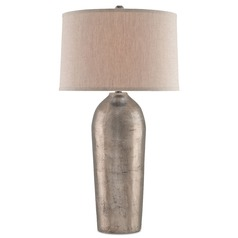 Currey and Company Reliance Antique Nickel Table Lamp with Drum Shade