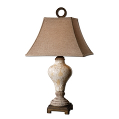 Table Lamp with Brown Shade in Crackeled Ivory Finish
