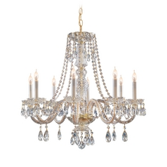 Crystorama Lighting Crystal Chandelier in Polished Brass Finish 5048-PB-CL-SAQ