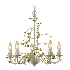 AF Lighting Star Flower 5-Light Chandelier in Antique Cream