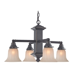 Design Classics Lighting Craftsman Chandelier in Bronze with Caramel Shades 375-78 / G9440