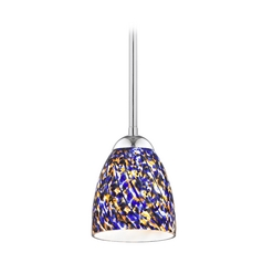 Design Classics Lighting Modern Mini-Pendant Light with Blue Glass 581-26 GL1009MB