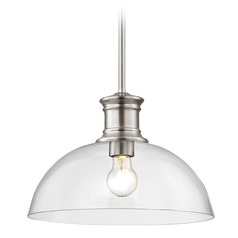 Nautical Pendant Light Satin Nickel with Clear Glass 13-Inch Wide
