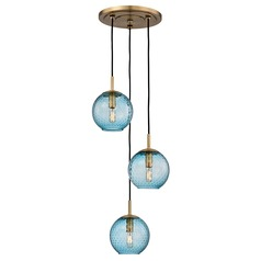 Mid-Century Modern Multi-Light Pendant Brass Rousseau by Hudson Valley Lighting